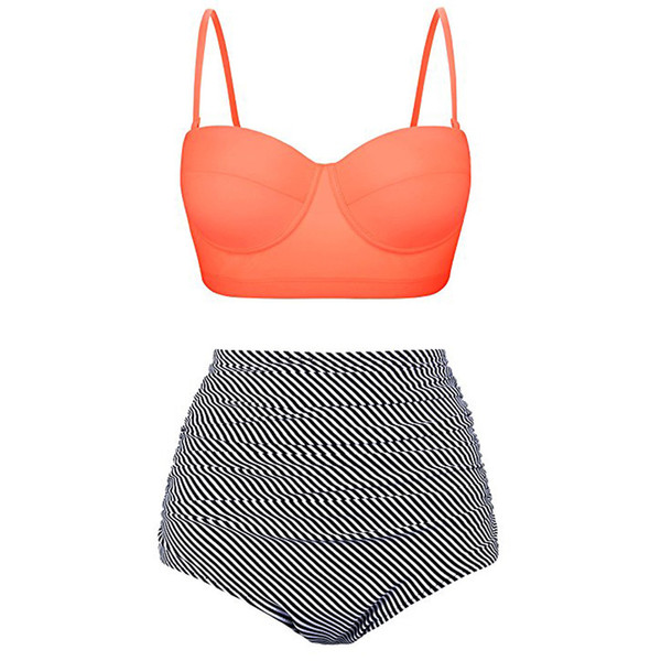 2019 New Swimuit Women Girl Fashion High Waist Bikinis Swimwear Female Retro Beachewear Swim Set 3.12