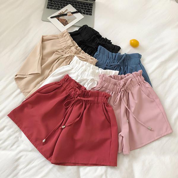 New arrival Pocket chiffon shorts female summer 2019 chic sweet lace up elastic waist wide leg Tan vogue chino cloth