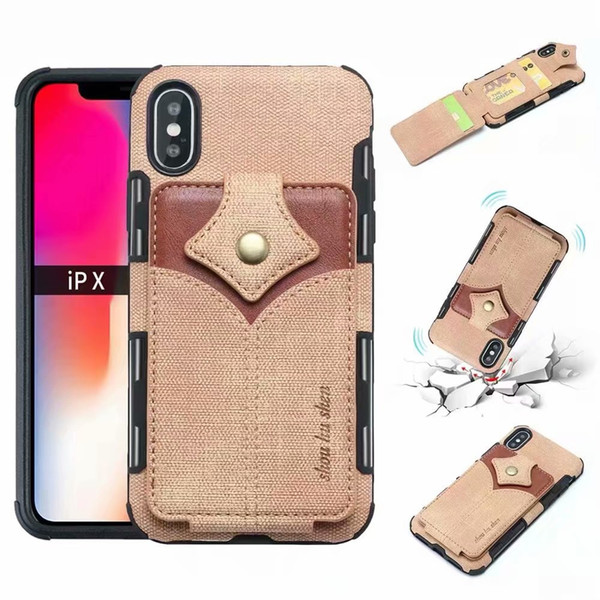 Wallet ID Card Slot Leather For Iphone XR XS MAX X 8 7 6 Hybrid Hit Color Soft TPU Silicone Cash Cases Magnetic Flip Cover Deluxe Box Pouch