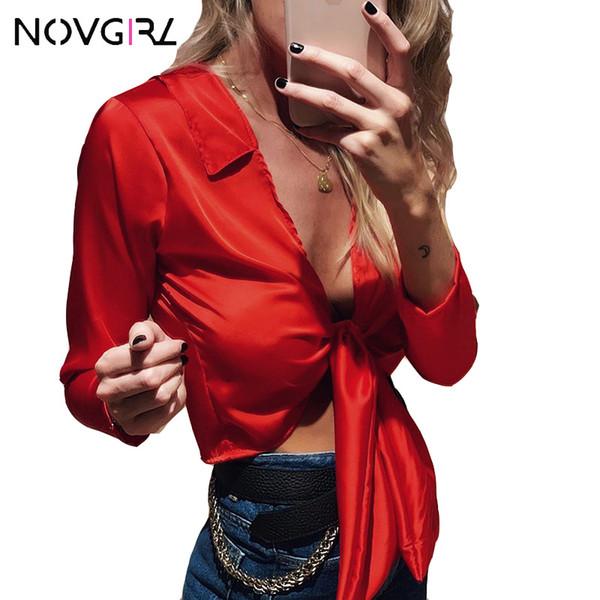 Novgirl arco sexy cuello en V de satén de seda blusa camisas mujeres 2019 de manga larga Office Lady Solid recortada Tops Streetwear Blusa femenina