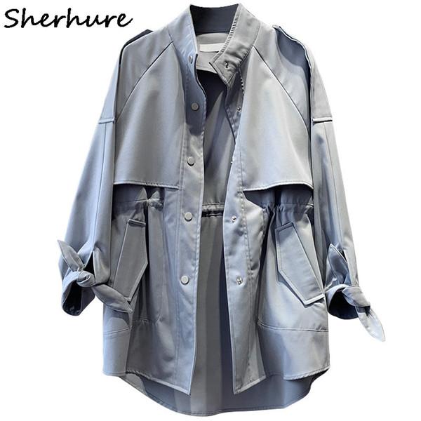 2019 Frauen Kleidung Langarm Stehkragen Damen Midi Länge Mantel Khaki Trench Femme Casaco Feminino Harajuku Abrigo Mujer