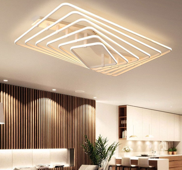 Großhandel White Square LED Kronleuchter Licht Deckenleuchten Moderne LED  Deckenleuchten Wohnzimmer Schlafzimmer Arbeitszimmer Home Decoration LLFA  ...
