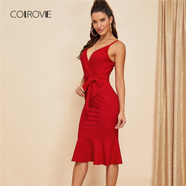 Colrovie Red Solid V-neck Fishtail Belted Ruffle Sexy Dress Women 2018 Sleeveless Elegant Party Dress Knee Length Bodycon Dress Y19073101