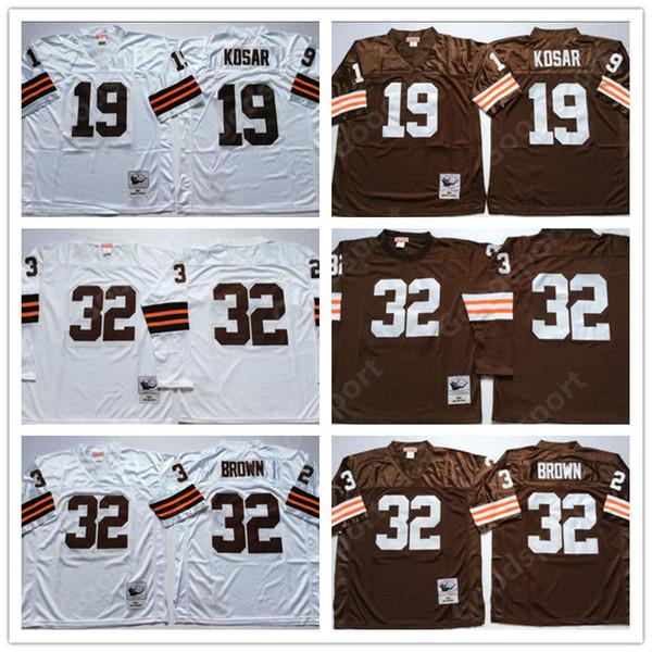 watch aa5fe 2c1b3 2019 RETRO NCAA 32 Jim Brown Jerseys WHITE 19 Bernie Kosar 32 Jim Brown  FOOTBALL Shirts Classic Sport HOT Vintage SALE Embroidered From  Goodbuystars, ...