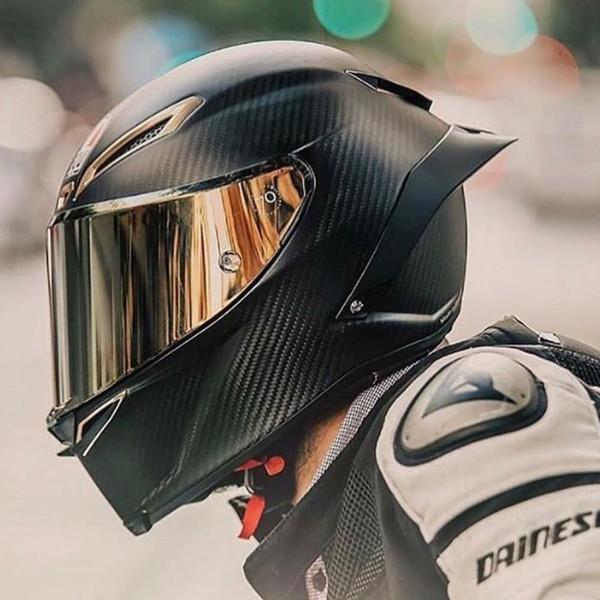 Casco de motocicleta de fibra de carbono de rostro completo Casco de carreras profesional Kask DOT Rainbow Visor Motocross Off Road
