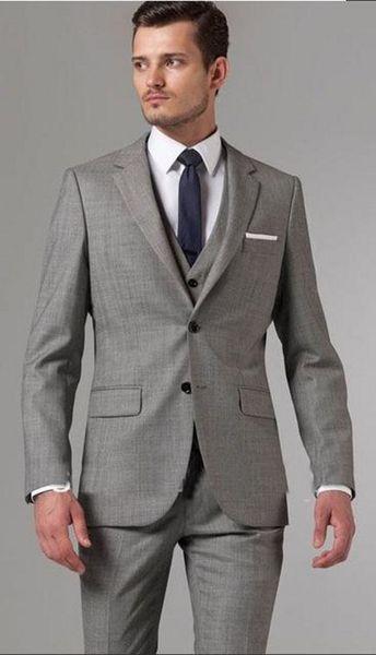Brand New Grey Groom Tuxedos Notch Lapel Center Vent Groomsmen Mens Wedding Dress Popular Man Jacket Blazer Suit(Jacket+Pants+Vest+Tie) 912