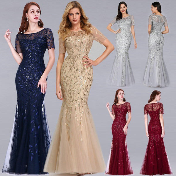 Ever-pretty Long Cap-sleeve Mermaid Evening Gowns Pageant Party Dresses 07585