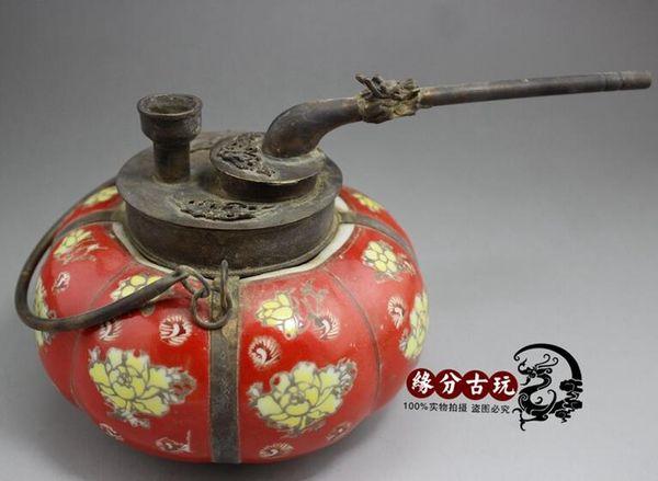 Китай ручной фарфор бронза резьба кальян старый кальян горшок