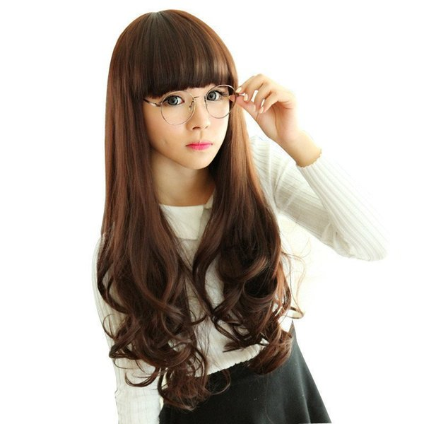 Woman Long Curly Together Fringe Fashion Wig Headgear Mark Synthetic Women Hair Lolita Cosplay Wigs