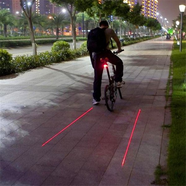 Cycling Bicycle Bike Light 2 Laser Projector Red Lamps Beam And 3 Led Rear Tail Lights Projection Version Bicycle Rear Tail Lamp