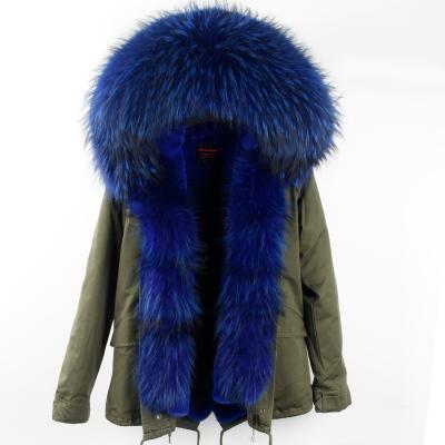 Lavish blue rabbit furs MAOMAOKONG brand women fur jackets blue raccoon fur Threshold trim rabbit fur lining army green mini parkas