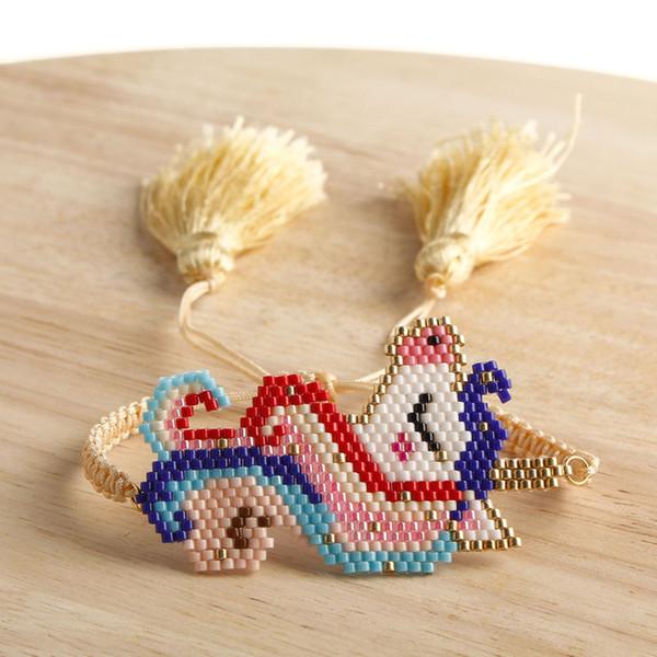 Unicorn Charm Bilezik El yapımı Miyuki Tohum Boncuk Sanatı Mücevher Kız için Unicorn Bilezik Gökkuşağı Renkli Püskül Dokuma Bilezikler