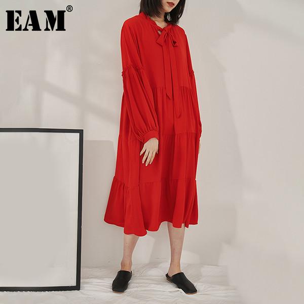 [EAM] 2019 New Spring Summer Stand Collar Long Lantern Sleeve Pleated Bandage Loose Loose Cake Dress Women Fashion Tide JO348