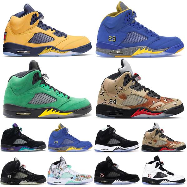 Hot New Jordan 5 5s Ailes de basket-ball International Flight Chaussures Hommes Ice Université Bleu formateurs de créateurs de chaussures de sport rouge hommes bottes