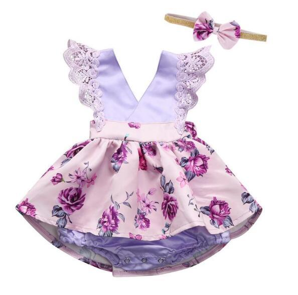 2PCS newborn baby girls summer clothes set infant lace flutter sleeve bodysuit tutu dress with bow head band outfit