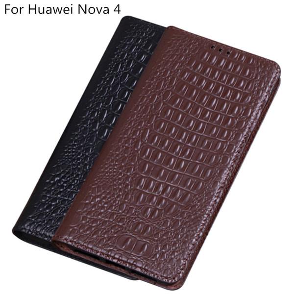 Textura de cocodrilo de cuero genuino Flip Case para Huawei Nova 4 Case para Huawei Nova 4 Flip Case con soporte de pie