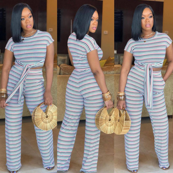 Rainbow Striped 2 Piece Outfits For Women Short Sleeve Crop Tops And Wide Leg Pants Suits Summer Two Pcs Matching Set Tracksuit