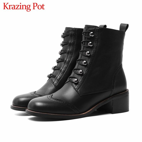 krazing pot brogue carved metal buckle cow leather boots round toe high heels side zip winter keep warm women ankle boots l1f1, Black