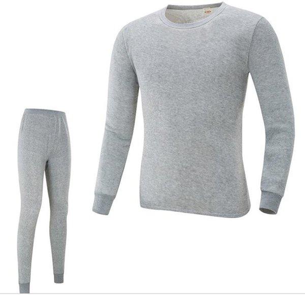 Mens Pyjama Sets Herbst Frühling Oansatz T shirts Hosen 2 stücke Nachtwäsche Anzüge Unterwäsche Dünne Winter Warme Unterwäsche