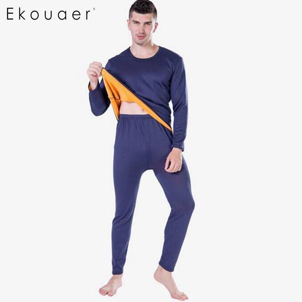 Ekouaer Thermal Underwear Set Mens Long Johns Autumn Winter Shirt Pants Two Piece Thicken Velvet Pajamas Set Warm Size XL-XXXL