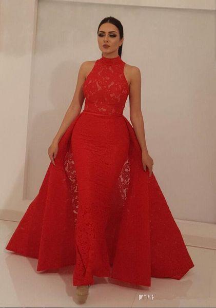 Illusion Cou Rouge Dentelle Dubai Robes De Soirée Avec Overskirts 2019 Saoudien Arabe Robes De Fete Formelles Zipper Up Dos Longue Africaine Robe De Bal