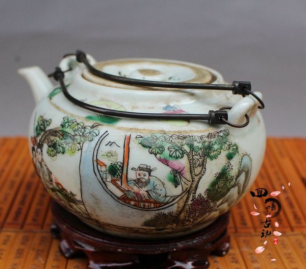 Republic of China pastel characters warm text hip flask Antique old porcelain junk collection ornaments Antique antiques collection