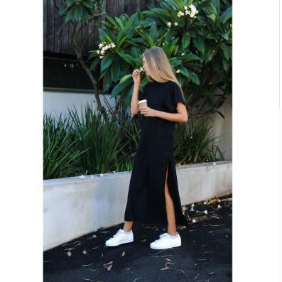 Kadın Yaz Maxi Tişörtlü Elbise Sahil Casual Seksi Boho şık Vintage Bandaj BODYCON Wrap Siyah Bölünmüş Uzun Elbise Plus Size