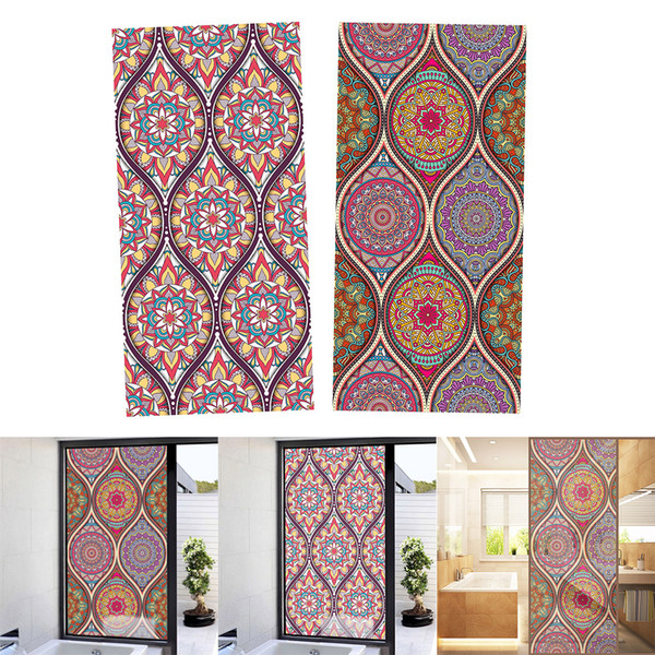 top popular Pack of 2 Floral Style Stained Window Film Privacy Frosted Glass Sticker 120x58cm 2021