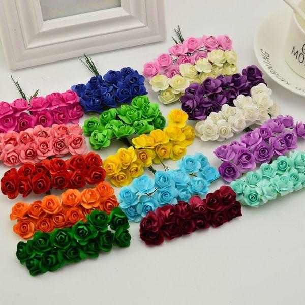 144 pcs 1.5 cm Barato Artificial Flores De Papel Para O Casamento Do Carro Falso Rosas Usadas Para Decoração Caixa De Doces Diy Grinalda Handmade