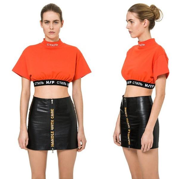 Maglietta sexy da donna Heron Preston Top lettera stampa manica corta casual Tee streetwear con 2 colori taglia asiatica S-L