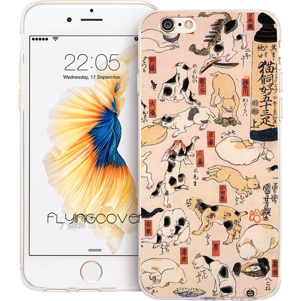Fundas Ukiyo-e Cats Art Phone Cases for iPhone XS Max XR 7 8 Plus 5S 5 SE 6 6S Plus 5C 4S iPod Touch 6 5 Clear TPU Silicone Cover.