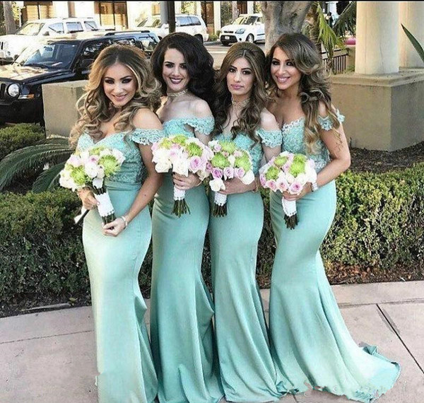 2019 Elegant Mint Green Mermaid Bridesmaid Dress Vintage Lace Top Off the Shoulder Wedding Guest Maid of Honor Gown Plus Size Custom Made