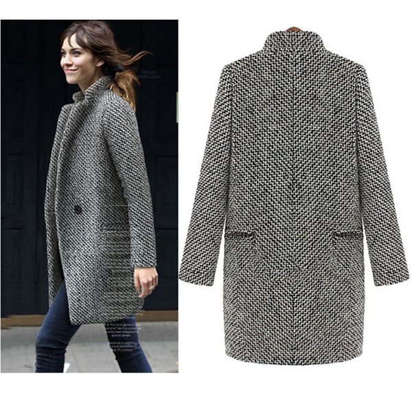Woman Coat Plaid Jacket Wool Coat One Button Pocket Wool Blend Cape Coat Tweed Outwear Tops (Grey) Size (S-3XL)