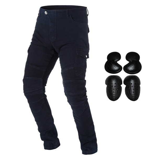 Motorcycle Riding Denim Jeans for Men Motocross Racing Armor Pants With Detachable CE Certified Knee Hip Protector Pads Black S-3XL