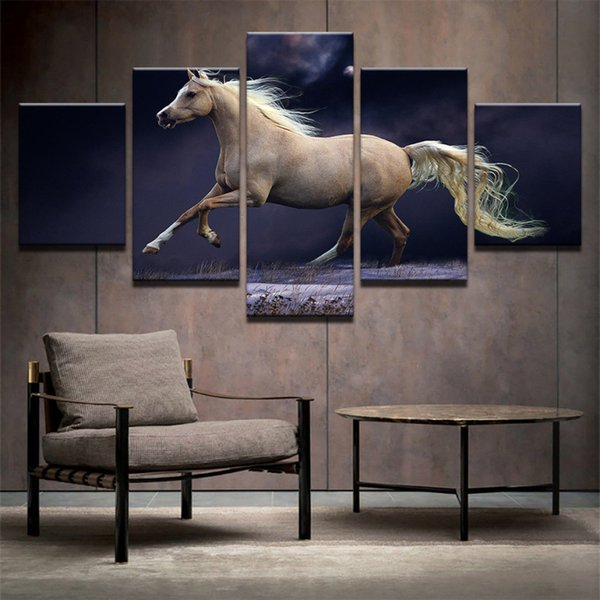 Running galloping white horses Sunset 5 Pcs Combinations HD Unframed Canvas Painting Wall Decoration Printed Oil Painting poster