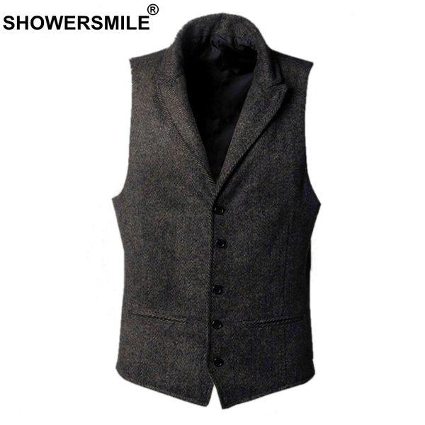 Showersmile Tweed Jacket Mens Wool Vests Autumn Winter Vintage Waistcoat Men Clothing Vest British Style Plus Size 4xl Suit Vest Y190420