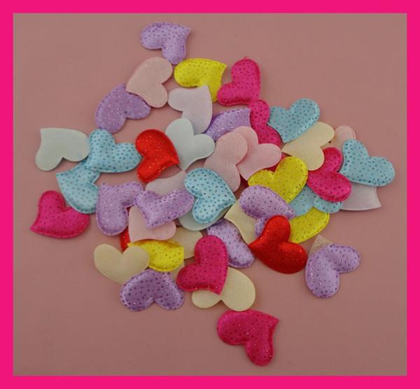 300PCS 3.2cm*2.5cm Multi-color Glitter Polka dot Printing Chunky Heart Fabric Patches Heart Applique Motif for DIY kids Handmade