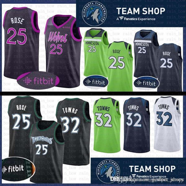 sports shoes b66ae a794e 2019 25 Derrick # Rose Stitched Minnesota Jersey Timberwolves 32 Karl  Anthony # Towns Basketball Jerseys The CiTY Retro From Tukameng2016, $34.98  | ...