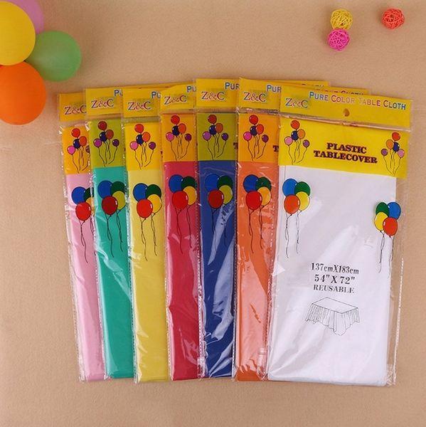 Tabla de mantel PE cubierta de la fiesta de cumpleaños del mantel de Color sólido Suministros de decoración de la boda 137 * 183 cm manteles KKA6884