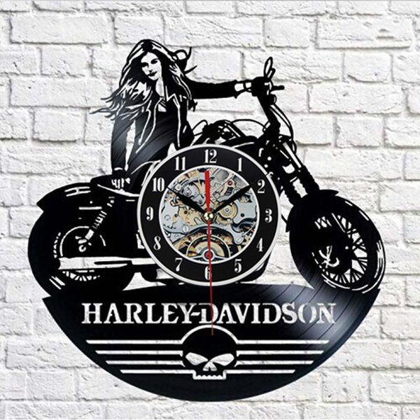 best selling CD Vinyl Disc Modern Wall Clock Harley-dayidson Theme Art Classic Watch Clock Special Clock For Friends