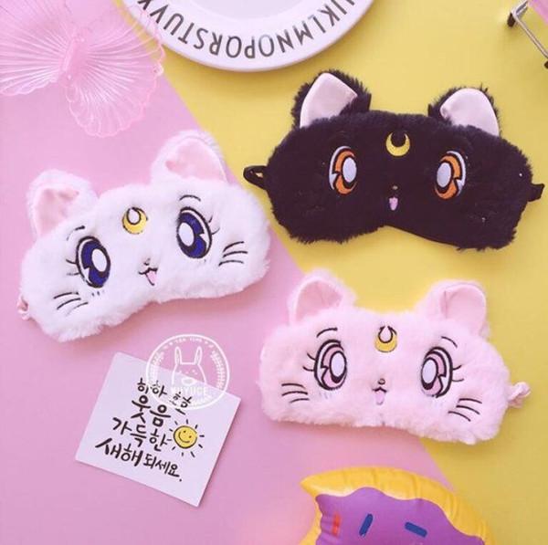 Vente chaude Creative Sailor Moon Eau Ice Moon Chat Eye Mask Sommeil Respirant Étudiant Cartoon Ombre Masque Pour Les Yeux Fille Couvercle Des Yeux Masque De Sommeil