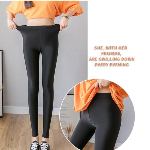 2019 Leggings de algodón para mujer Pantalones casuales de cintura alta sexy Elasticidad Fitness Pantalones largos de legging Color puro Leggins Mujer 30%