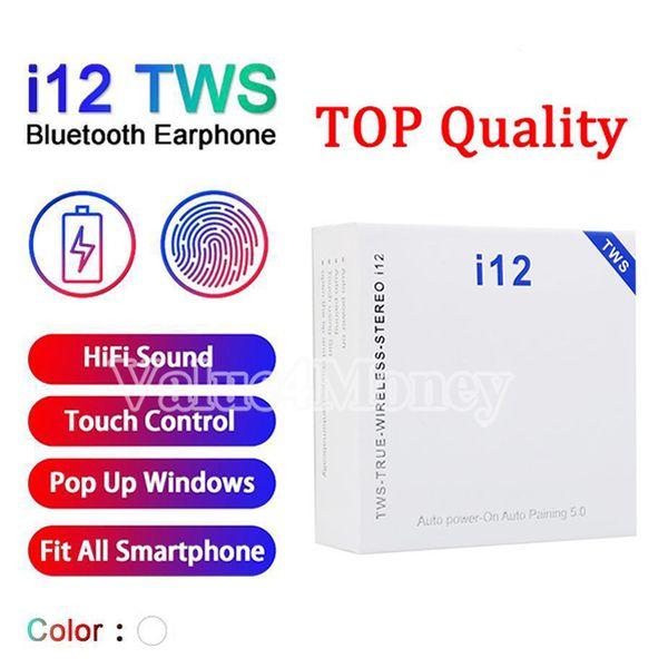i12 TWS Ture sem fio Earbuds Airbuds Bluetooth 5.0 Headphones Touch Control Auto emparelhamento Poder-se Binaural Chamada heaset fone PK i16 i18