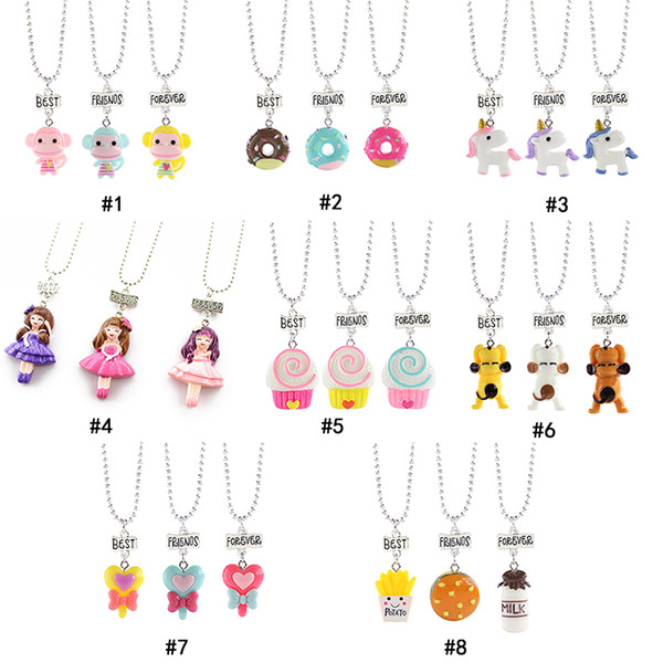 friends forever bff necklace for kids boys grils princess dog french fries burger donut pendant chains children friendship jewelry bulk, Silver