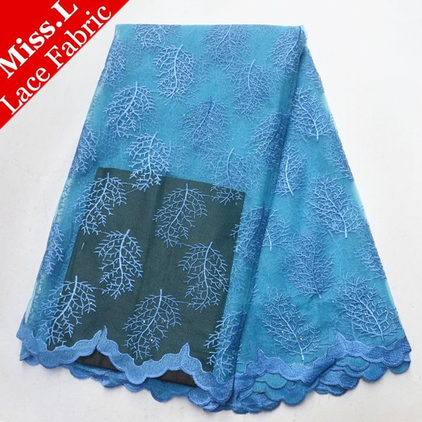 Laço africano tecido Bordado com Pedras de alta qualidade Guipure tecido de renda 5 metros Francês Net para o Partido nigeriano