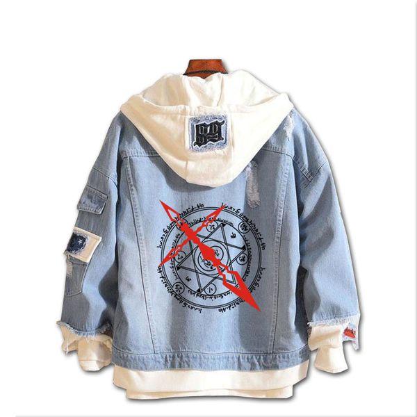 Moda chaqueta de mezclilla Nuevo destino gran orden con capucha Anime destino sable Jeans Escudo Hombres Ropa de mujer