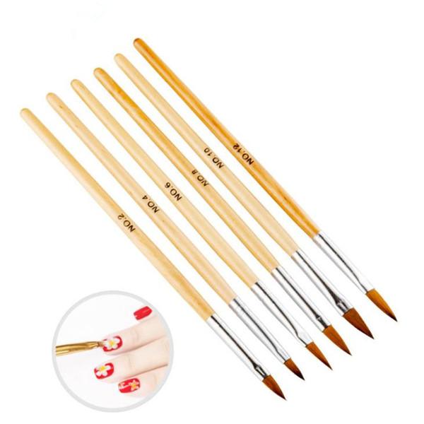 Wood Nail Art Brush No. 2/4/6/8/10/12 UV Gel Carving Pen Brush Liquid Powder DIY Beauty Nail Drawing pen Fast Shipping F3257