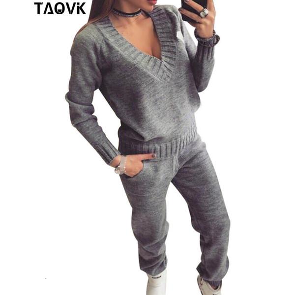 TAOVK Womans Laine chaud costume tricoté Survêtement encolure en V Pull Ens pantalon grande taille costume de sport Tricots sexy deux pieceMX190929