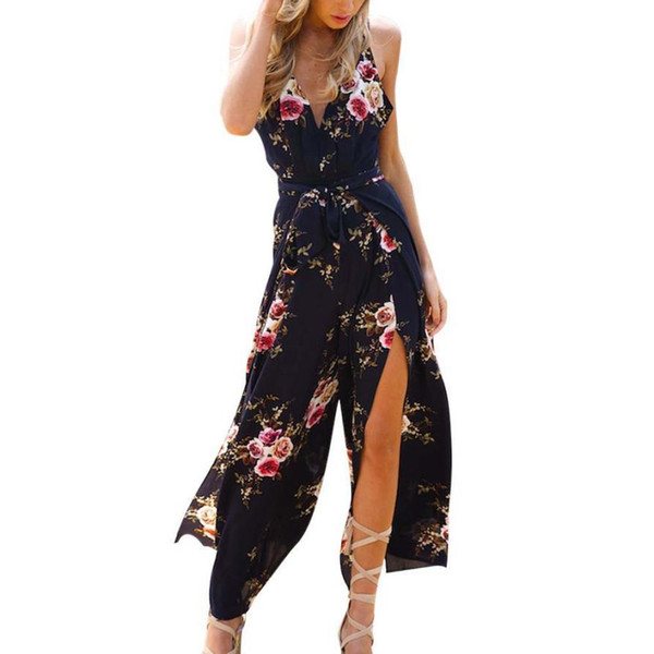 Women Sleeveless Floral Print Jumpsuit Summer Loose Playsuit Rompers tracksuits Bodysuit women Overalls Combinaison short femme