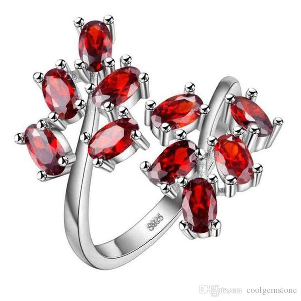Hot Uphot Wholesale factory price - Hot sell 925 silver ring Sparking Queen Natural Red Garnet Zircon Jewelry Ring CR0257
